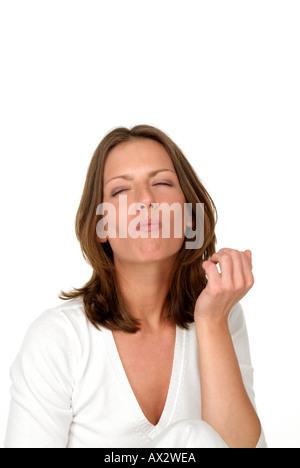 Wellfood Junge Frau mit Früchten Studioaufnahmen Model Released Farbprofil ECI RGB icc - Stock Photo