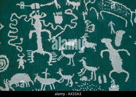Navajo Petroglyphs Newspaper Rock Canyonlands Utah - Stock Photo
