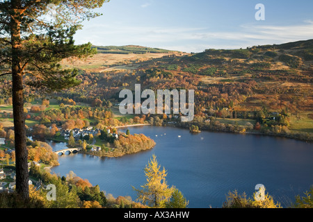 View looking down over Loch Tay to the village of Kenmore. - Stock Photo