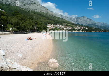 Beach in Brela, Makarska Riviera, Dalmatian Coast, Croatia - Stock Photo