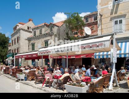 Seafront cafe  in Cavtat, Dubrovnik Riviera, Dalmatian Coast, Croatia - Stock Photo