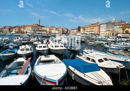 Harbour in the Old Town, Rovinj, Istria, Croatia - Stock Photo