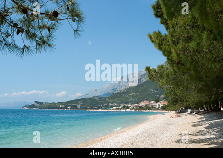 Beach, Tucepi, Makarska Riviera, Dalmatian Coast, Croatia - Stock Photo