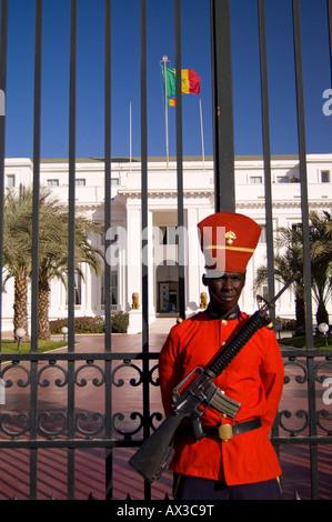 Travel, Senegal, Dakar, Local man, Presidential Palace guard, - Stock Photo