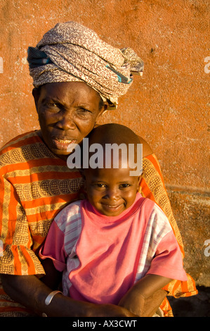 Travel, Senegal, Dakar, Local old woman and grandchild, Boy, - Stock Photo