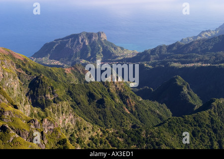 Penha de Aguia view from lookout Miradouro Ninho da Manta Madeira - Stock Photo