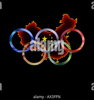 Olympic rings in muted colors against black background - Stock Photo