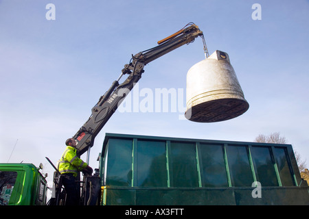 HIAB operator emptying the glass recycling, lorry, refuse, garbage, waste, trash, truck, rubbish, city, vehicle, - Stock Photo