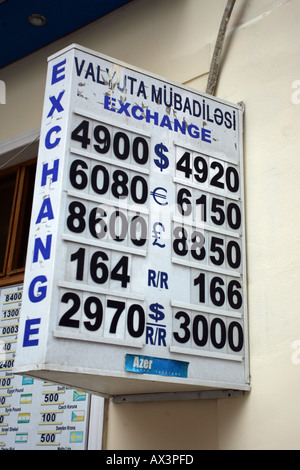 Exchange rates in Baku, Azerbaijan - Stock Photo