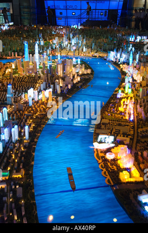 China, Shanghai. Shanghai Urban Planning and Expo 2010 Exhibition Hall - illuminated scale plan of the Shanghai - Stock Photo