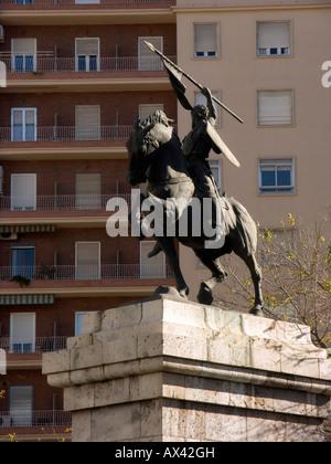 Equestrian statue dedicated to Rodrigo Diaz de Vivar (aka El Cid Campeador) by Anna Hyatt Huntington (1964). Valencia. - Stock Photo