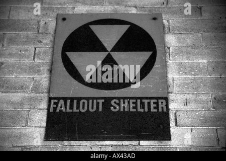 Nuclear fallout Shelter sign in New York City USA - Stock Photo