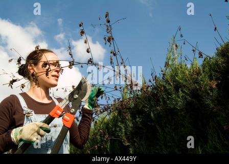 Gardener woman pruning a cypress fence - Stock Photo