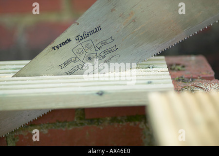 Female woodworker working outdoors sawing timber - Stock Photo