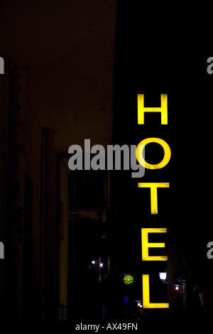 hotel at night in the city Olbia - Stock Photo
