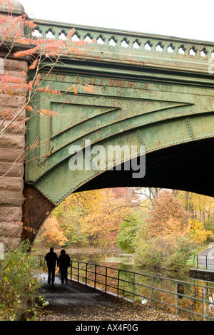 Bridge built in 1890 over waterway in Prospect Park Brooklyn NY - Stock Photo