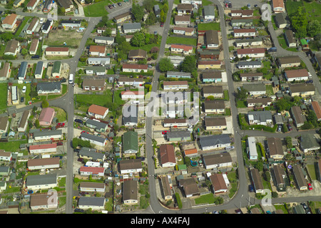 Aerial view of a mobile home park, also known as a caravan park or a trailer park - Stock Photo