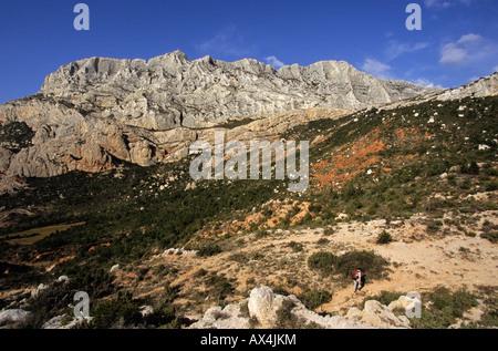 Sainte Victoire mountain Bouches du Rhône France - Stock Photo