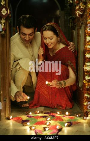 Couple celebrating diwali - Stock Photo