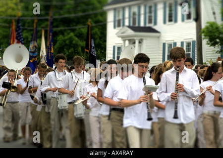 Memorial Day parade and children's music marching band in Rockport, Massachusetts. - Stock Photo