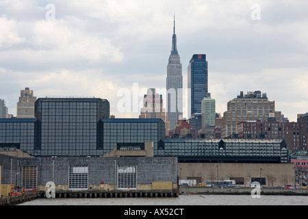Jacob Javits Convention Center New York City as viewed from the Hudson River - Stock Photo
