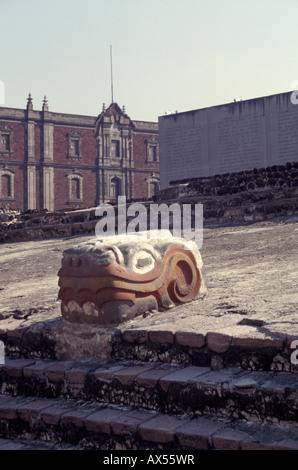 Serpent head with original colouring at the Aztec ruins of the Templo Mayor or Great Pyramid of Tenochtitlan, Mexico - Stock Photo