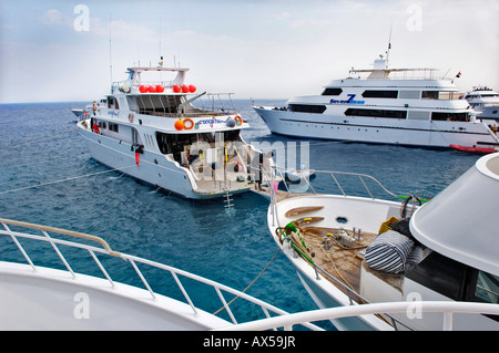 Diving boats waiting for tourist divers, Red Sea, Egypt - Stock Photo
