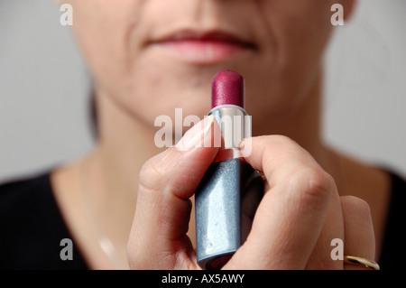 Woman with lipstick - Stock Photo