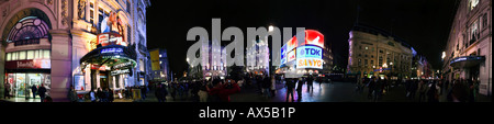 Panoramic shot of Piccadilly Circus, London, England, UK, Europe - Stock Photo