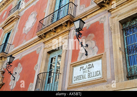 Plaza Cardenal Belluga (Cardinal Belluga Square), Bishop's Palace, Murcia, Spain, Europe - Stock Photo