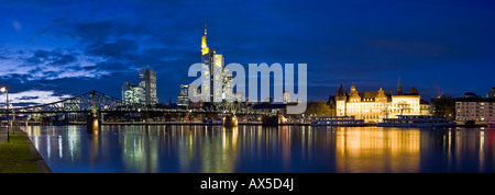 Frankfurt's skyline, views of Commerzbank and Untermainbruecke, Frankfurt, Hesse, Germany - Stock Photo
