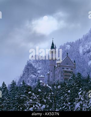 Neuschwanstein Castle near Fuessen, Allgaeu, Bavaria, Germany, Europe - Stock Photo