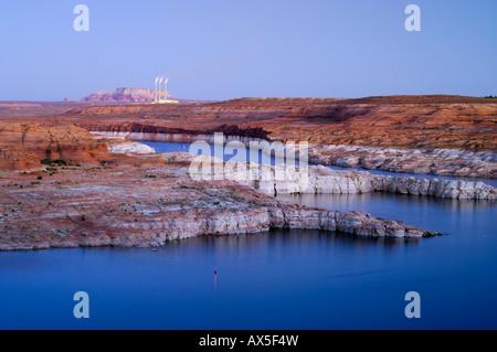 View over Lake Powell toward Navajo Generating Station, coal power plant, Arizona, USA, North America - Stock Photo