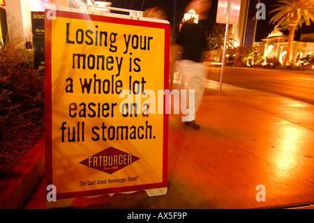 Advertising outside the Fatburger restaurant on Las Vegas Boulevard, Las Vegas, Nevada, USA, North America - Stock Photo