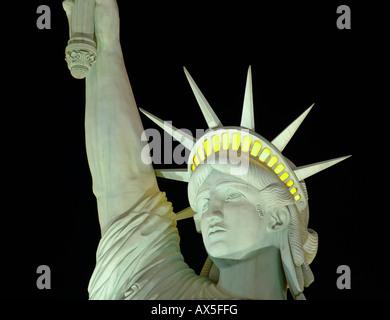 Statue of Liberty replica in front of the New York-New York Hotel & Casino, Las Vegas Boulevard, Las Vegas, Nevada, - Stock Photo