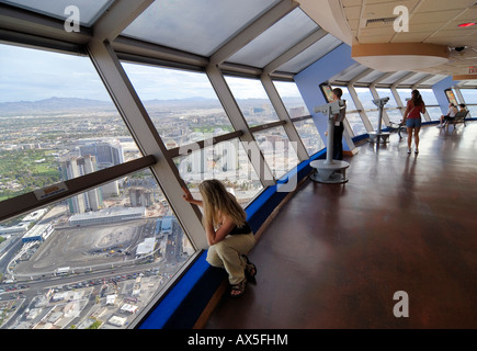 Tourists enjoying the view from Stratosphere Tower, Las Vegas Boulevard, Las Vegas, Nevada, USA, North America - Stock Photo