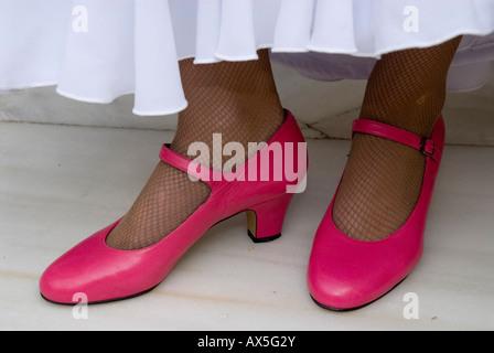 Flamenco dancer with pink shoes, Conservatorio de Danza, Sevilla, Andalusia, Spain, Europe - Stock Photo