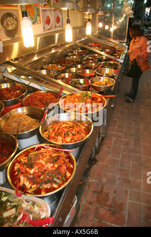 Kimchi spicy pickled cannage for sale at a market in Kyeongju, Korea - Stock Photo