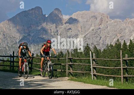 Female mountain bikers at Schiller Hof, Mt. Rosengarten in the background, Dolomites, Northern Italy, Europe - Stock Photo