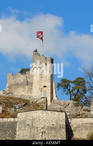 Stein fortress ruins, Baden, Aargau Canton, Switzerland, Europe - Stock Photo
