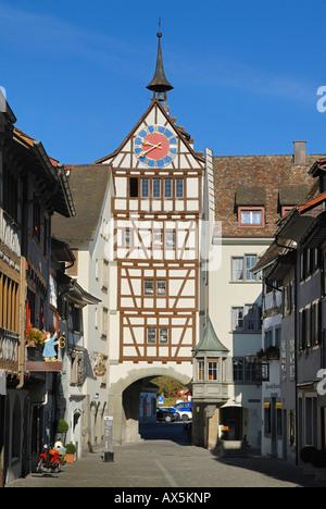 Gate, Stein am Rhein, Schaffhausen Canton, Switzerland, Europe - Stock Photo