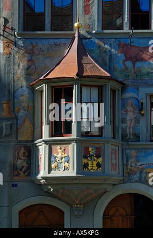 Historic building facades and bay window in Stein am Rhein, Schaffhausen Canton, Switzerland, Europe - Stock Photo