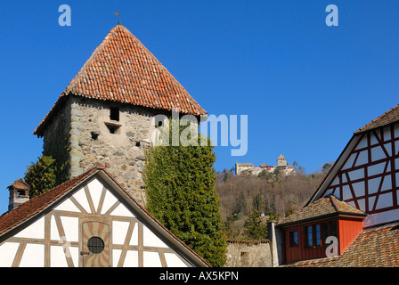 Hexenturm (Witches' Tower) and Hohenklingen Castle in the background, Stein am Rhein, Schaffhausen Canton, Switzerland, - Stock Photo