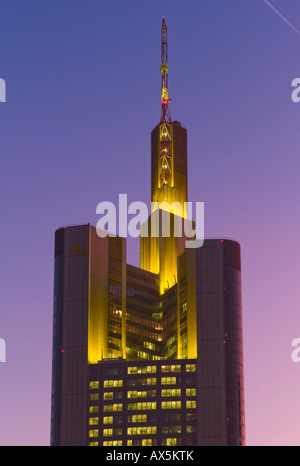 Commerzbank tower in the evening light, Frankfurt, Hesse, Germany, Europe - Stock Photo