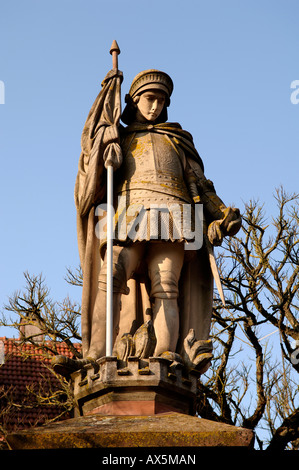 Statue of St. Florian, Hassfurt, Lower Franconia, Bavaria, Germany, Europe