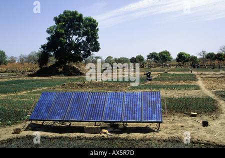 Tankular, The Gambia. Solar panels at an agricultural project funded by international charity aid. - Stock Photo
