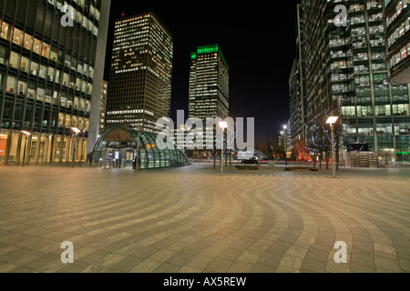Canary Wharf with Canada Square, entrance to underground station and skyscrapers, Docklands, London, England, UK, - Stock Photo