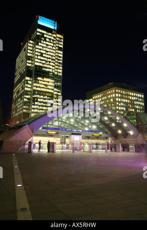 Canary Wharf and Canada Square, entrance to underground station and skyscrapers at Docklands, London, England, UK, - Stock Photo
