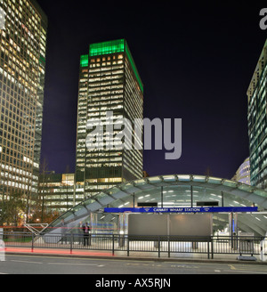 Canary Wharf and Canada Square, entry to underground station and skyscrapers at London's Docklands, London, England, - Stock Photo