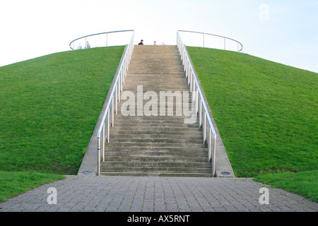 Stairs going up to Docklands Hill lookout point, green grass, Docklands, London, England, UK, Europe - Stock Photo